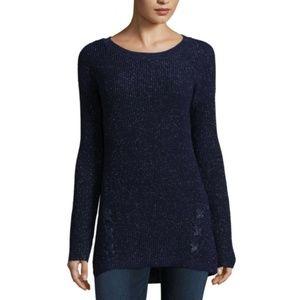 a.n.a Petite  Elliptical Hem Crew Neck Sweater